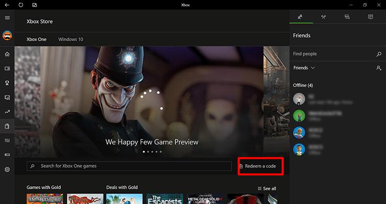 Hoe activeer ik Xbox Live via de Xbox app - Selecteer code inwisselen